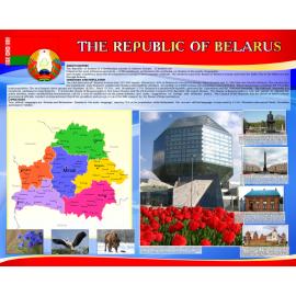 Стенд  The Republic of Belarus на английском языке в красно-синей цветовой гамме