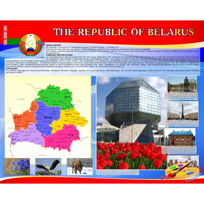 Стенд Достопримечательности Беларуси на английском языке в красно-синей цветовой гамме