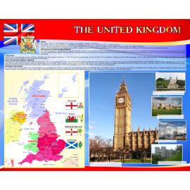 Стенд The United Kingdom of Great Britain and Northern Ireland на английском языке в красно-синих тонах