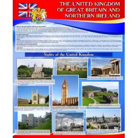 Стенд The United Kingdom of Great Britain and Northern Ireland на английском языке в сине-красной гамме