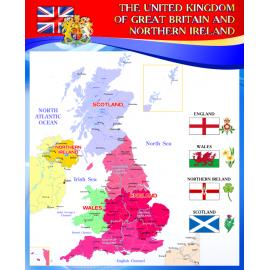 Стенд Карта Соединенного Королевства на английском языке в красно-синей цветовой гамме