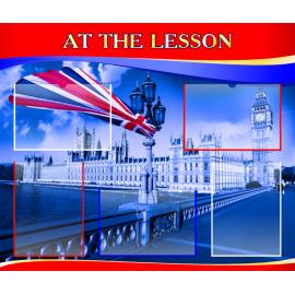 Стенд At the lesson на английском языке в красно-синей цветовой гамме