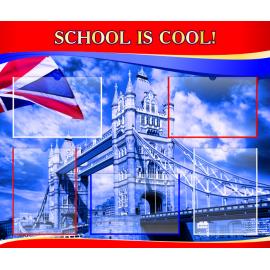 Стенд School is cool на английском языке в красно-синей цветовой гамме