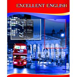 Стенд  Excellent English на английском языке в красно-синей цветовой гамме