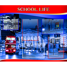 Стенд School life на английском языке в красно-синей цветовой гамме