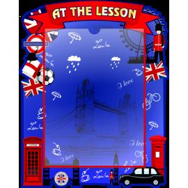 Стенд At the lesson с карманом А4 в красно-синих тонах