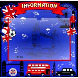 Стенд Information с карманом А4 в красно-синих тонах
