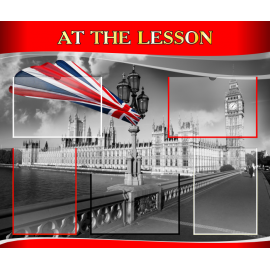 Стенд At the lesson на английском языке в красно-серой цветовой гамме