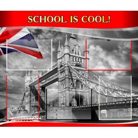 Стенд School is cool на английском языке в красно-серых тонах
