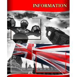 Стенд Information на английском языке в красно-серых тонах