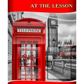 Стенд At the lesson на английском языке в красно-серых тонах