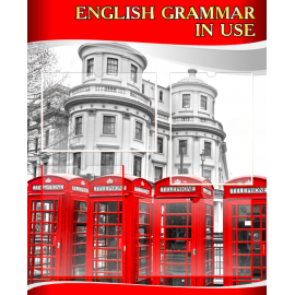 Стенд English grammar in use на английском языке в красно-серых тонах