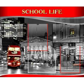 Стенд School life на английском языке в красно-серых тонах