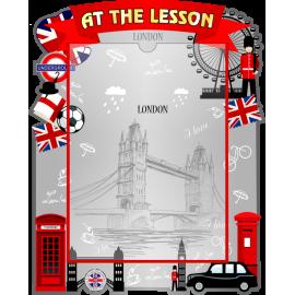 Стенд At the lesson с карманом А4 в красно-серых тонах
