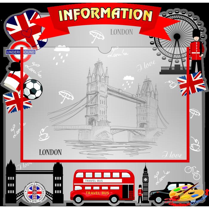 Стенд Information с карманом А4 в красно-серых тонах