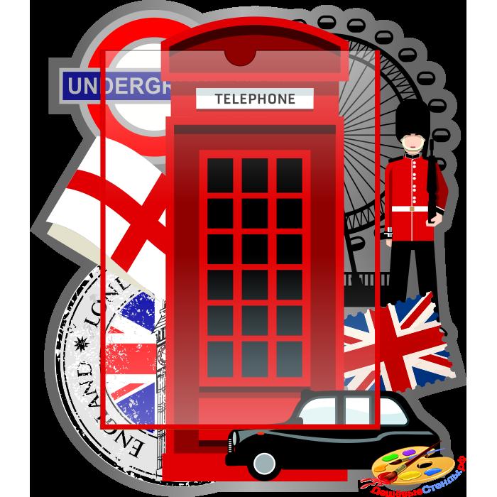 Стенд на английском языке с карманом А4 в красно-серых тонах