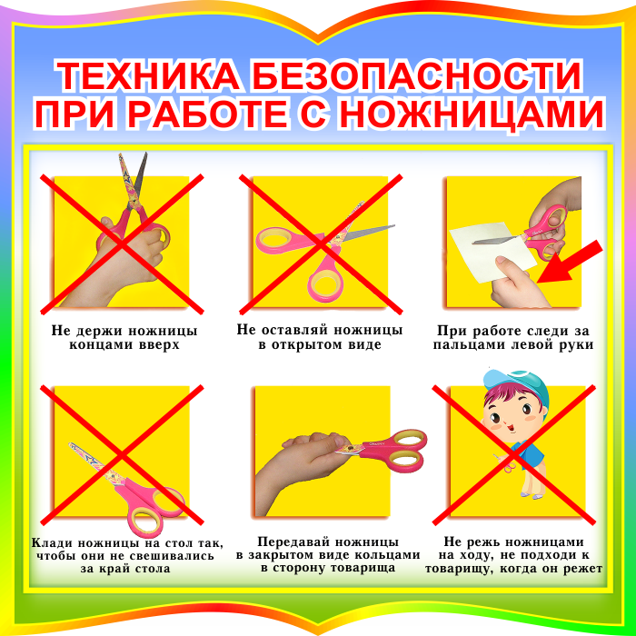 Стенд Техника безопасности при работе с ножницами в радужных тонах для начальных классов