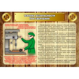 Стенд Техника безопасности при сверлении для столярной мастерской