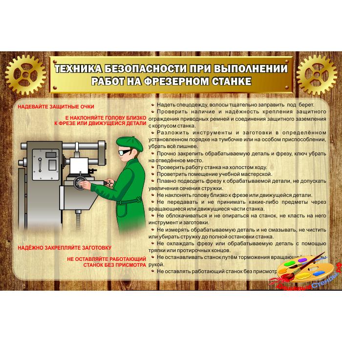 Стенд Техника безопасности при выполнении работ на фрезерном станке для столярной мастерской