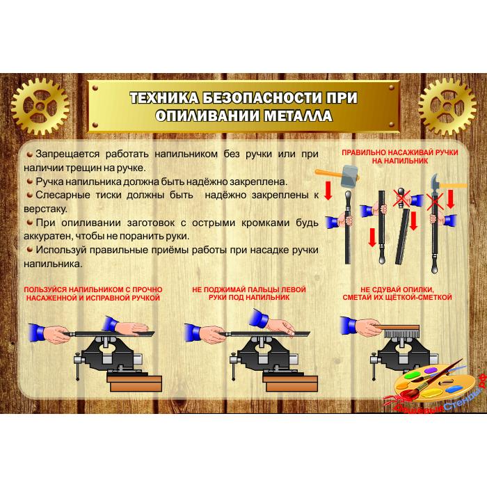 Стенд Техника безопасности при опилливании металла для столярной мастерской