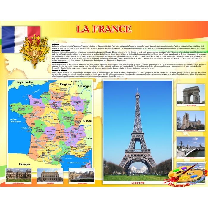 Стенд Достопримечательности Франции на французском языке в золотисто-оранжевых тонах