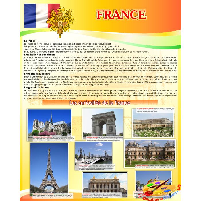 Стенд Франция на французском языке в золотисто-оранжевых тонах