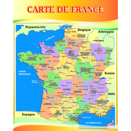 Стенд Карта Франции на французском языке в золотисто-оранжевых тонах