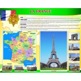 Стенд Достопримечательности Франции на французском языке в золотисто-зеленых тонах