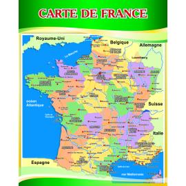 Стенд Карта Франции на французском языке в золотисто-зеленых тонах