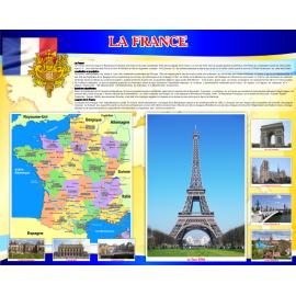 Стенд Достопримечательности Франции на французском языке в золотисто-синих тонах