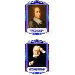 Комплект портретов Знаменитые французские деятели в золотисто-синих тонах