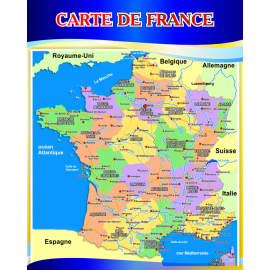 Стенд Карта Франции на французском языке в золотисто-синих тонах