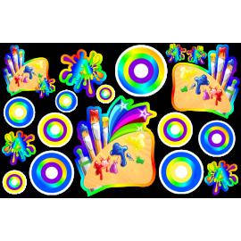 Комплект декоративных наклеек для группы Акварельки