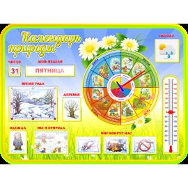 Стенд Календарь природы с карточками для группы Ромашка